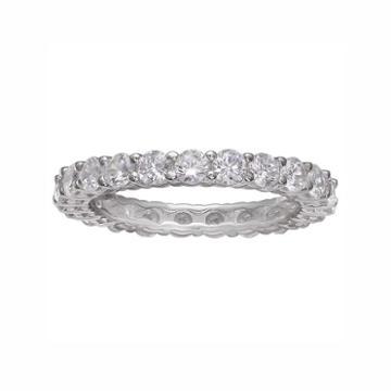 Primrose Sterling Silver Cubic Zirconia Eternity Ring, Women's, Size: 9, White