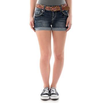 Juniors' Wallflower Faded Cutoff Denim Shortie Shorts, Girl's, Size: 9, Dark Blue