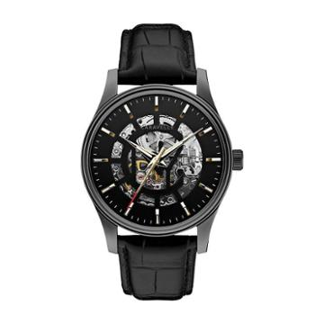 Caravelle New York By Bulova Watch - Men's Arnold Leather Automatic Skeleton
