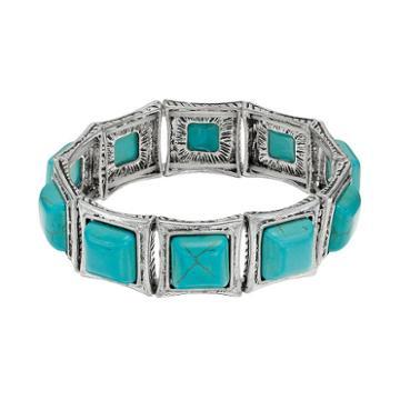 Simulated Turquoise Square Stretch Bracelet, Women's, Turq/aqua