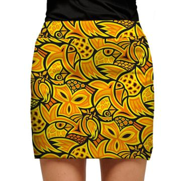 Women's Loudmouth Yellow Abstract Chicken Golf Skort, Size: 10, Gold