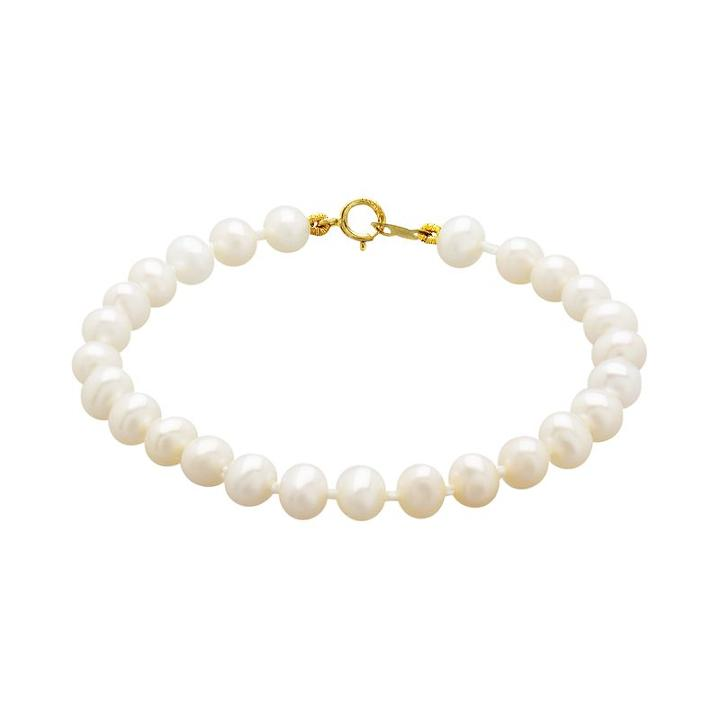 14k Gold Freshwater Cultured Pearl Bracelet - Kids, Girl's, Yellow