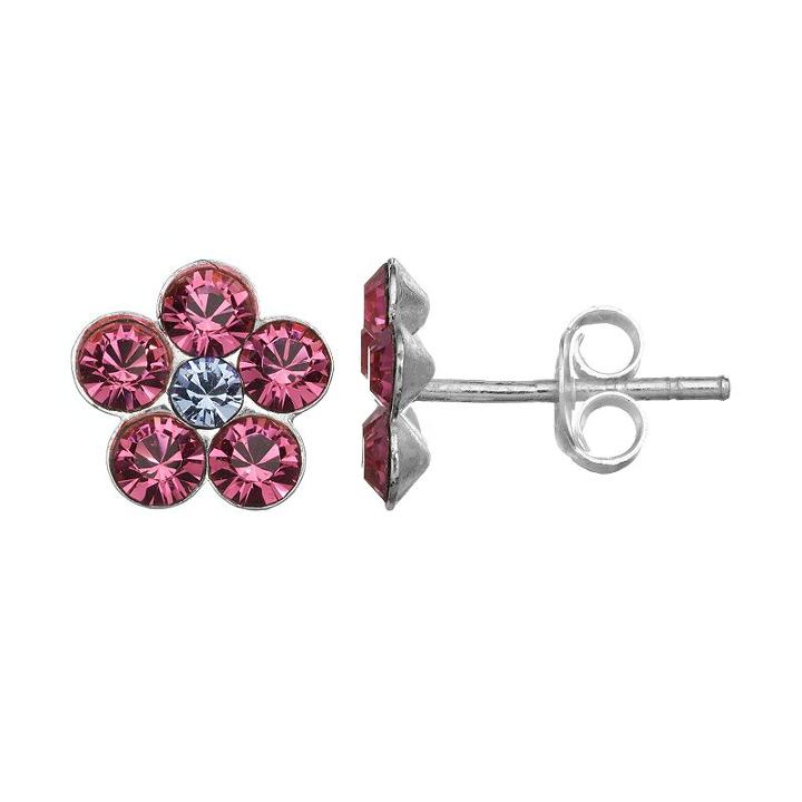 Charming Girl Sterling Silver Crystal Flower Stud Earrings - Made With Swarovski Crystals - Kids, Pink
