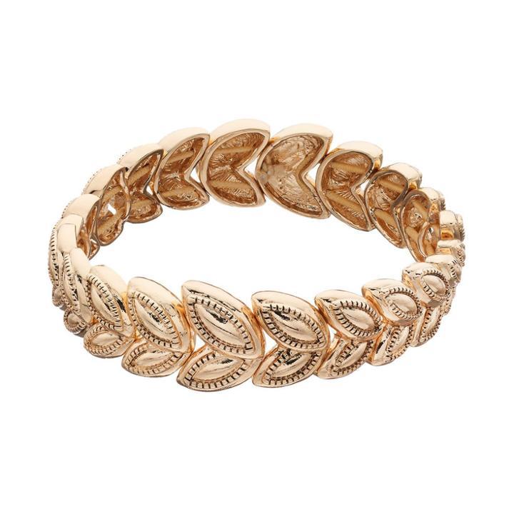 Napier Textured Marquise Stretch Bracelet, Women's, Gold