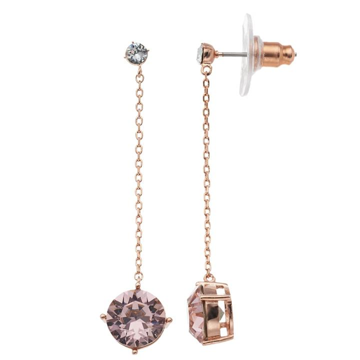 Brilliance Rose Gold Tone Pink Swarovski Crystal Drop Earrings, Women's