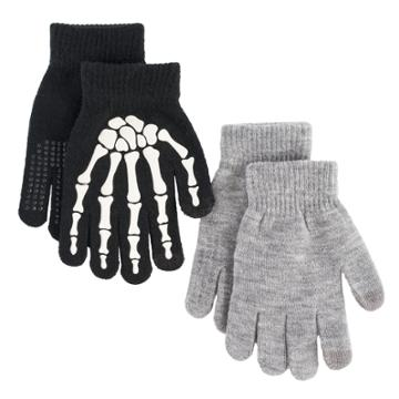 Boys Skeleton 2-pack Gloves, Multicolor