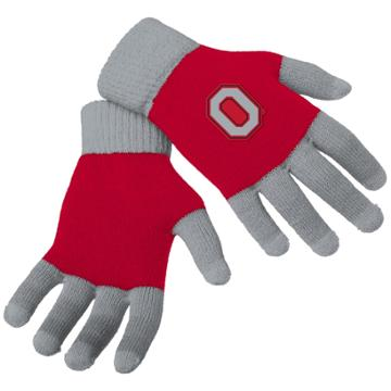 Adult Forever Collectibles Ohio State Buckeyes Knit Colorblock Gloves, Adult Unisex, Multicolor