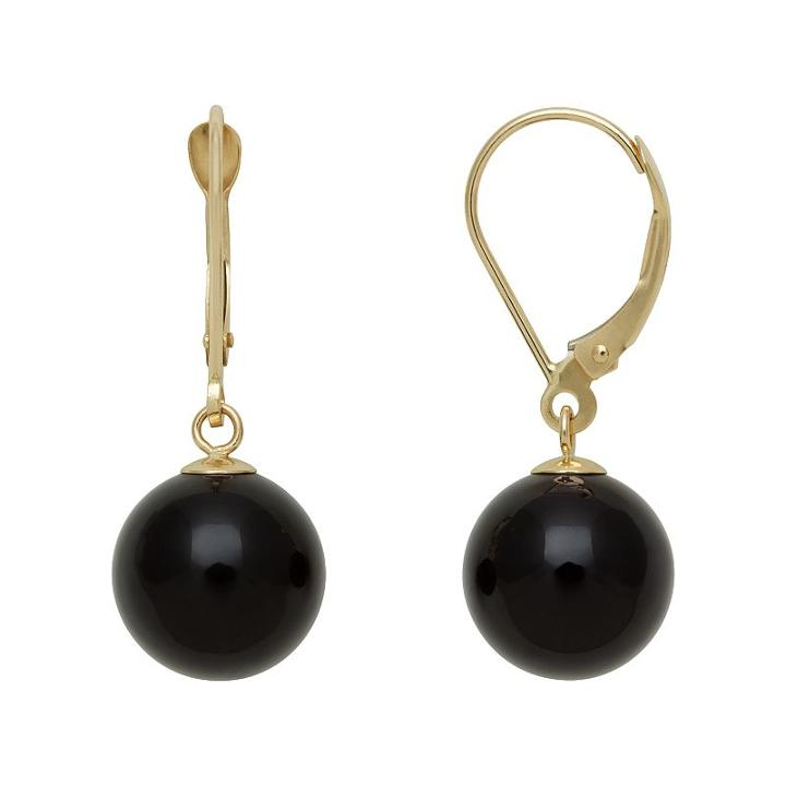 14k Gold Onyx Bead Drop Earrings, Women's