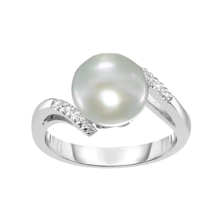Sterling Silver Freshwater Cultured Pearl & Lab-created White Sapphire Bypass Ring, Women's, Size: 8