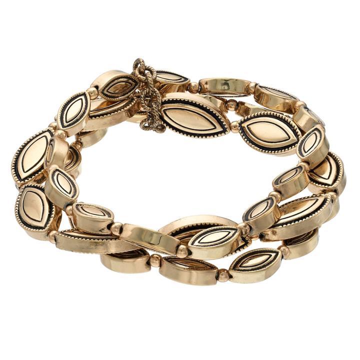 Marquise Multi Strand Stretch Bracelet, Women's, Gold