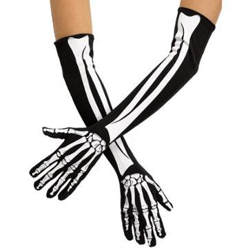 Adult Skeleton Bone Elbow-length Costume Gloves, Women's, Black