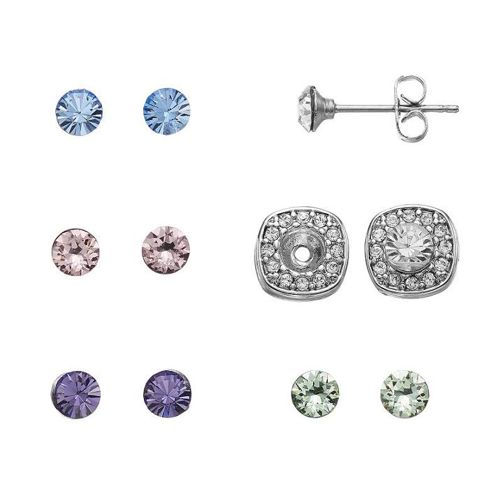 Brilliance Silver Plated Interchangeable Square Halo Stud Earring Set With Swarovski Crystals, Women's, Multicolor