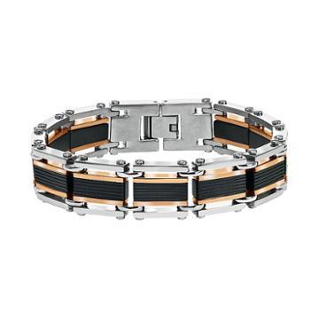 Axl By Triton Men's Tri-tone Stainless Steel Bracelet, Silver