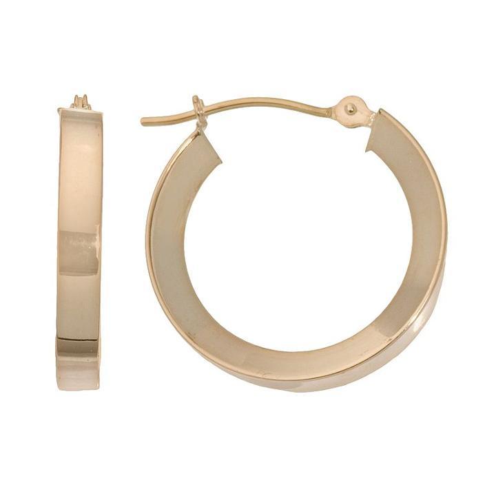 18k Gold Concave Hoop Earrings, Women's, Yellow