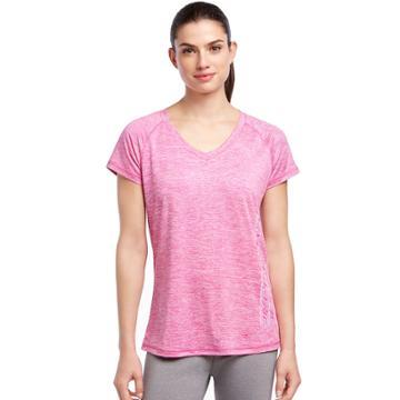 Women's Skechers Performance Raglan Sleeve Tee, Size: Medium, Dark Pink