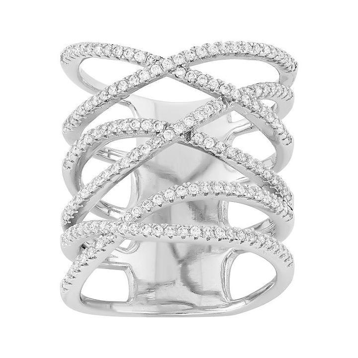 Cubic Zirconia Sterling Silver Crisscross Ring, Women's, Size: 7, White
