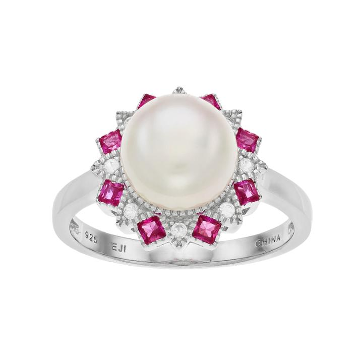 Sterling Silver Freshwater Cultured Pearl & Lab-created Ruby Ring, Women's, Size: 7, White