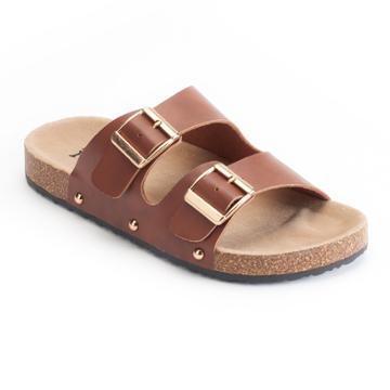 Mudd® Women's Double Buckle Slide Sandals, Size: Medium, Med Brown