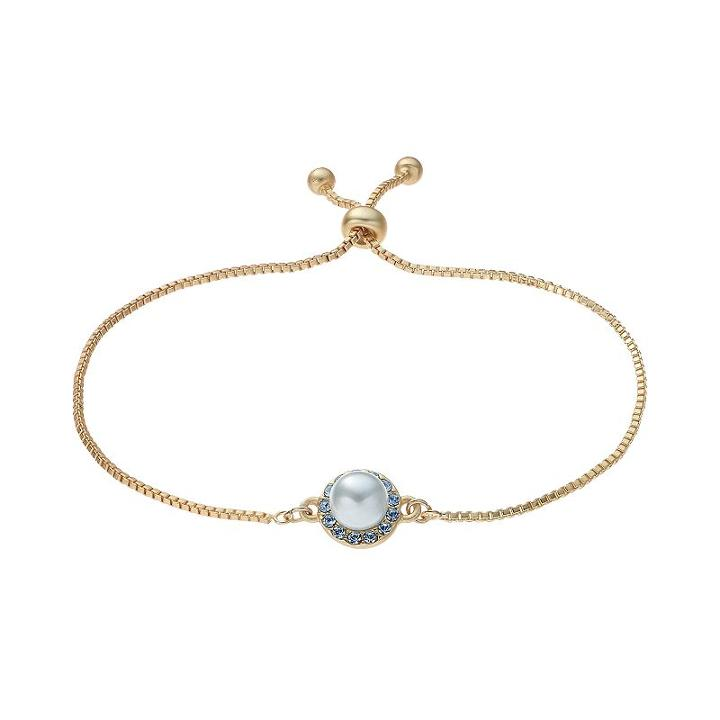 14k Gold Plated Simulated Pearl & Crystal Halo Bolo Bracelet, Women's, Blue