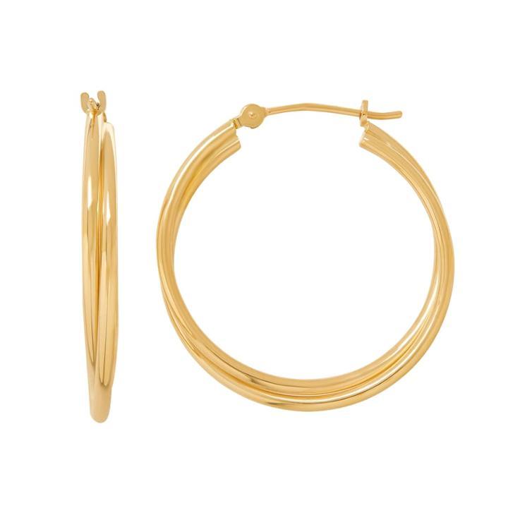Everlasting Gold 14k Gold Tube Double Hoop Earrings, Women's