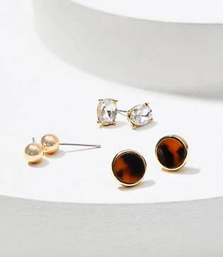 Loft Crystal & Leopard Stud Earring Set