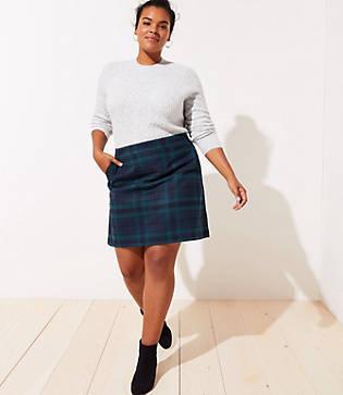 Loft Plus Plaid Pocket Shift Skirt