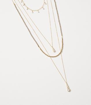 Loft Crystal Layered Pendant Necklace