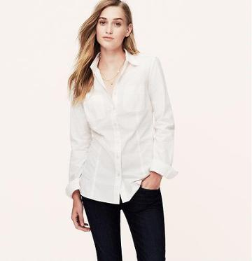 LOFT Essential Softened Shirt, White