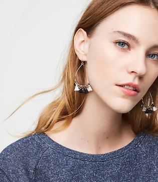 Loft Charmed Tassel Hoop Earrings