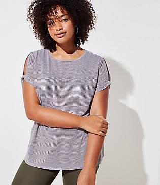 Loft Plus Shimmer Stripe Twist Sleeve Tee