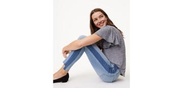 Loft Modern Side Stripe Step Hem Skinny Jeans In Blocked Indigo Wash