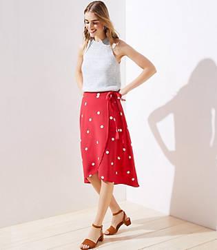 Loft Polka Dot Wrap Skirt