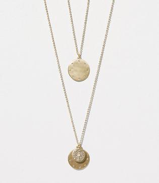 Loft Hammered Pave Layering Necklace Set