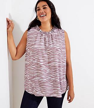 Loft Plus Zebra Print Tie Back Shell