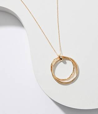 Loft Twisted Ring Pendant Necklace