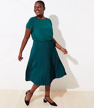 Loft Plus Mixed Media Pleated Dress