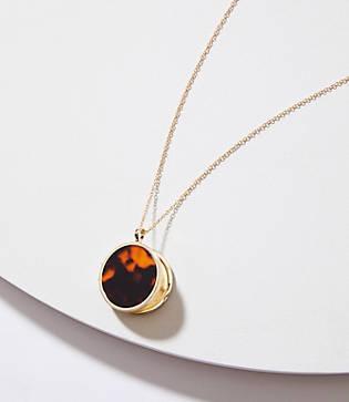 Loft Reversible Tortoiseshell Print Locket Pendant Necklace