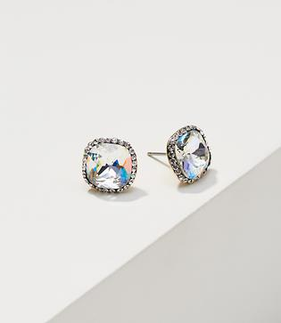 Loft Faceted Pave Square Stud Earrings