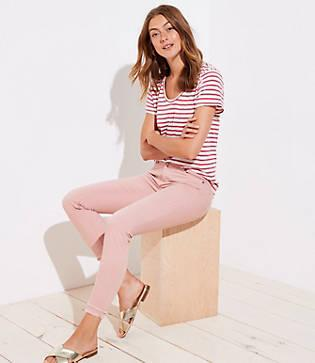 Loft Modern Double Frayed Skinny Ankle Jeans In Pink