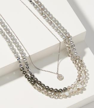 Loft Pearlized Pendant Layering Necklace Set