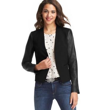 Loft Faux Leather Sleeve Open Blazer