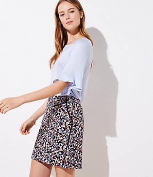 Loft Floral Lacy Pocket Shift Skirt