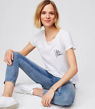 Loft Pretty Please Embroidered Tee