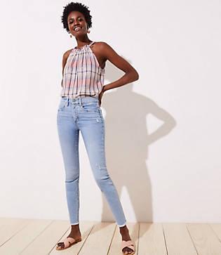 Loft Modern High Waist Slim Pocket Frayed Skinny Jeans In Light Indigo