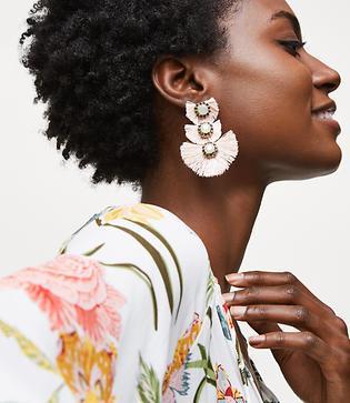 Loft Fringe Gem Drop Earrings