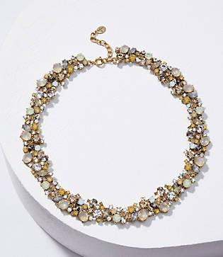 Loft Crystal Cluster Statement Necklace