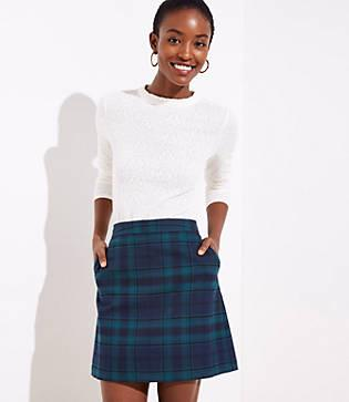 Loft Plaid Pocket Shift Skirt