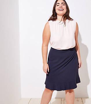 Loft Plus Pinstripe Flounce Pencil Skirt