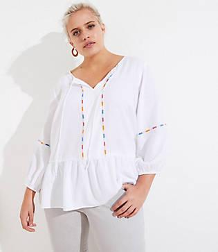 Loft Plus Rainbow Embroidered Tie Neck Blouse