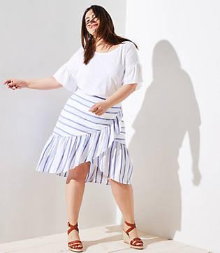 Loft Plus Striped Ruffle Wrap Skirt